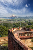 India. Agra. A view of Taj Mahal from a wall of the Red Fort.