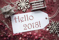 Nostalgic Christmas Decoration, Label With Text Hello 2018