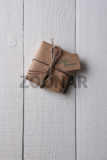Plain paper wrapped Christmas present