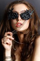 beautiful girl in black eye glasses