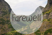 Valley And Mountain, Norway, Text Farewell