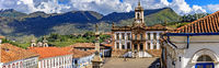 Panoramic view of central square at Ouro Preto city downtown