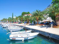 Promenade von Baska Voda an der Makarska Riviera,Adria,Dalmatien,Kroatien