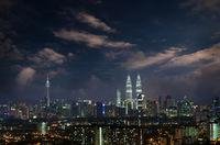 Kuala Lumpur city skyline night view