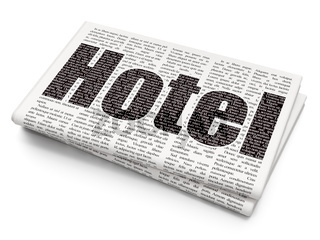 Vacation concept: Hotel on Newspaper background