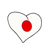 Japan isolated heart flag on white background
