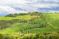 Tuscan rural landscape view with a winding road on a hill