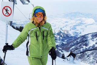 Woman on ski resort