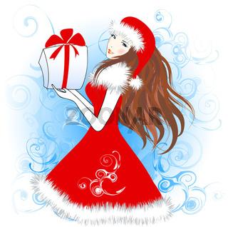 Christmas girl with a gift