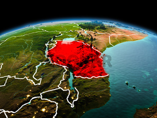 Tanzania on planet Earth in space