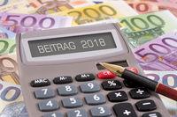 Beitrag 2018 mit Taschenrechner und Euro