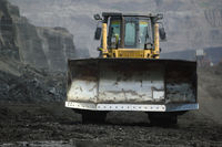 bulldozer in coal mine