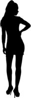 Black silhouette of a beautiful girl on a white background