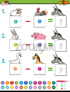 maths subtraction game with farm animals