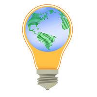 Lightbulb with globe, 3-Illustration