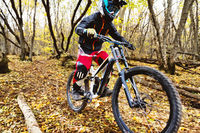 a young rider driving a mountain bike rides at speed downhill in the autumn forest.
