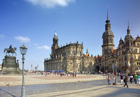 DRESDEN, GERMANY - SEPTEMBER 17, 2014: People walk in the center of Old town, near Cathedral of the