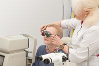 Woman visits an ophthalmologist