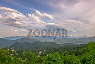 Mountain landscape with green valley