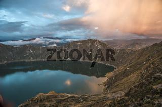 Quilotoa caldera and lake (lagoon), Andes. Ilinizas Nature Reserve, Ecuador