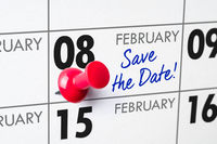 Wall calendar with a red pin - February 08