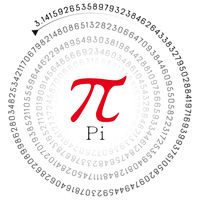 red pi sign and the number in spiral form