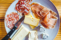 Plate of Italian cheese and charcuterie