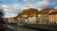 Sunset panorama of riverfront of Ljubljana, Slovenia.