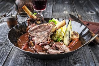 Lamb Knuckles with Vegetable in Red Wine Sauce