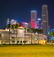 Singapore Parliament building at night