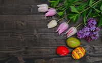 tulips and eggs background