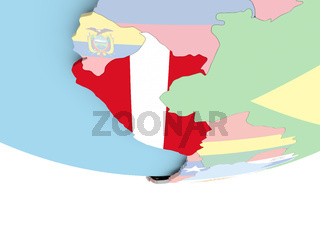 Map of Peru with flag on globe
