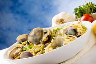 Pasta with Clams on blue background