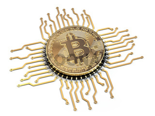 Bitcoin like a  CPU computer processor isolated on white background.
