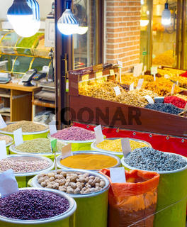 Tehran dried fruits market stall