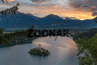 Bled Lake, Slovenia, with the Assumption of Mary Church in the island