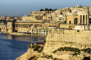 Siege Bell, And Siege Defences, The Grand Harbour, Valletta, Malta