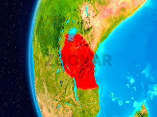 Space view of Tanzania in red