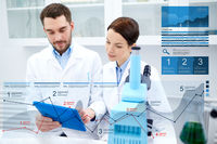 scientists with tablet pc and microscope in lab
