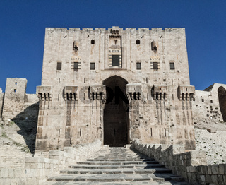 citadel fortress gate landmark in central old aleppo city syria