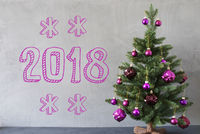Christmas Tree, Cement Wall, Text 2018