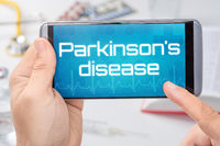 Smartphone with the text Parkinsons disease on the display