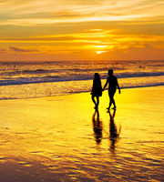 Couple walk tropical beach. Bali