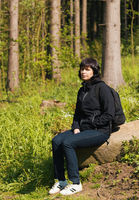 woman, on hiking trip resting