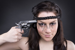 Gun At Womans Head