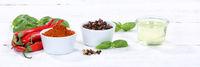 Gewürze kochen Zutaten Paprika Pulver Paprikapulver Banner rote scharfe Peperoni