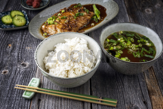 Fish Teriyaki with Rice and Miso Soup