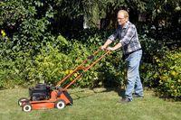 Mann maeht den Rasen