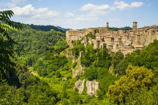 Sorano, Stadt des Mittelalters , in der Provinz Grosseto in der Toskana