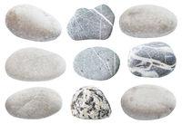 set of various gray natural sea pebble stones